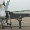 Fighter pilot from VFA-31, TOMCATTERS, ready to fly on June 17 from Martin State Airport